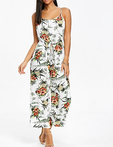 56e572a4ff56 Women s Floral Holiday   Going out Street chic   Sophisticated Strap  Rainbow Jumpsuit