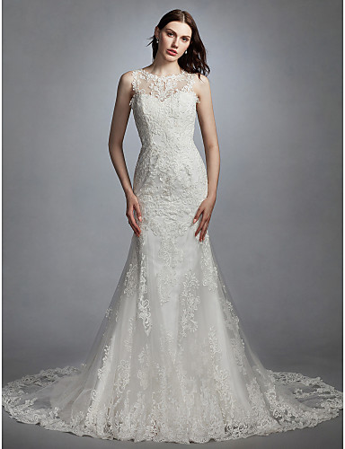 858923679933 Mermaid   Trumpet Jewel Neck Chapel Train Lace   Tulle Made-To-Measure  Wedding Dresses with Appliques by LAN TING BRIDE®   See-Through