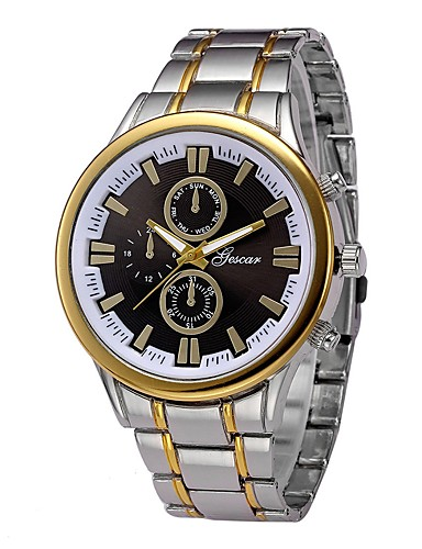 Men's Dress Watch Wrist Watch Quartz Stainless Steel Silver / Gold 30 m Chronograph Creative Large Dial Analog Classic Fashion - Black / Gold Black / White White / Gold One Year Battery Life