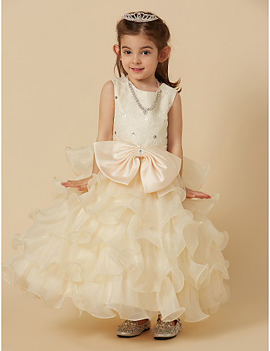 f1840c743 Princess Ankle Length Flower Girl Dress - Lace / Organza Sleeveless Jewel  Neck with Beading / Bow(s) / Lace by LAN TING BRIDE®