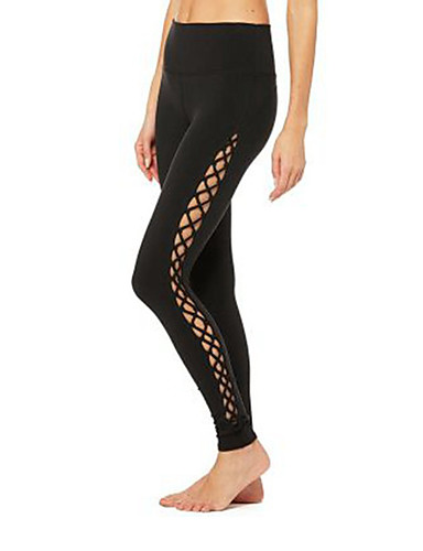 288778158c923 Women's Cut Out Yoga Pants White Black Sports Fashion Tights Leggings Zumba  Running Fitness Activewear Breathable Quick Dry High Elasticity