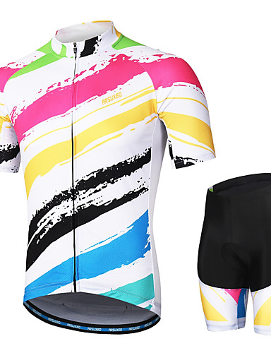 cheap Cycling Clothing-Arsuxeo Men's Short Sleeves Cycling Jersey with Shorts Red and White Stripes Bike Clothing Suit 3D Pad Moisture Wicking Sports Stripes Mountain Bike MTB Road Bike Cycling Clothing Apparel