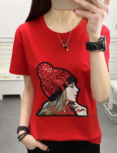 billige Dametopper-T-skjorte Dame - Geometrisk Grunnleggende Brun XXXL / Paljetter