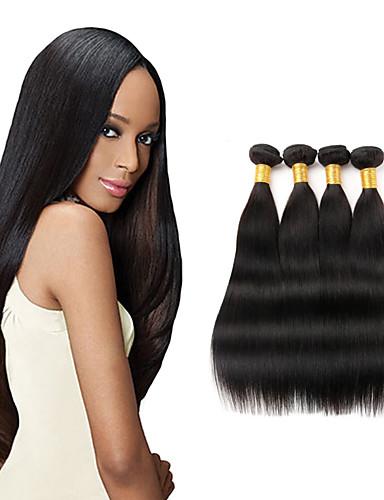 baratos Liquidação-4 pacotes Cabelo Peruviano Liso 10A Cabelo Virgem Cabelo Humano Ondulado 8-26 polegada Tramas de cabelo humano Extensões de cabelo humano Mulheres / Reto
