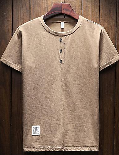 T-shirt Męskie Bawełna Okrągły dekolt Jendolity kolor