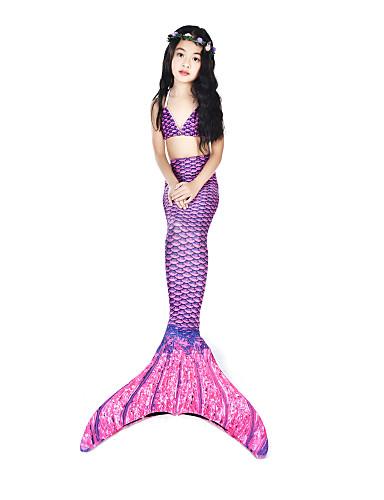 halpa Uinti-cosplay-The Little Mermaid Uima-asut Bikini Asu Lasten Naisten Merenneito alushame Bikini Halloween Karnevaali Festivaali / loma Elastaani tactel Purppura Karnevaalipuvut Vintage