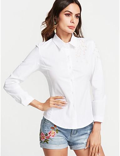 billige Topper til damer-Bomull Skjortekrage Skjorte Dame Broderi / Trykt mønster Gatemote Dusty Rose Rosa / Vår / Høst
