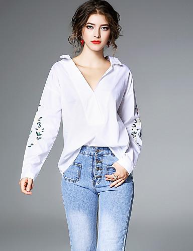 billige Dametopper-Skjortekrage Skjorte Dame - Blomstret, Broderi Aktiv / Gatemote Ut på byen