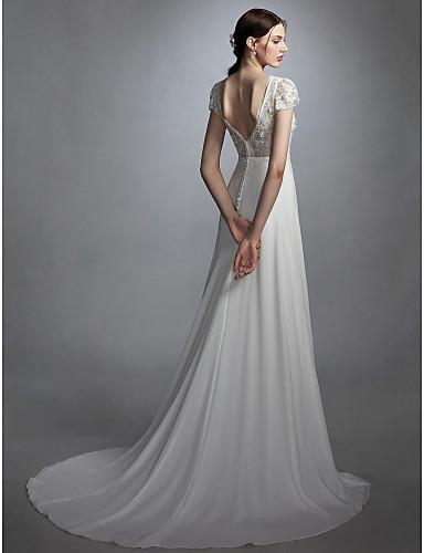 גזרת A עם תכשיטים שובל קורט שיפון / תחרה שמלות חתונה עם סרט / פרח / כפתור על ידי LAN TING BRIDE® / פתוח בגב