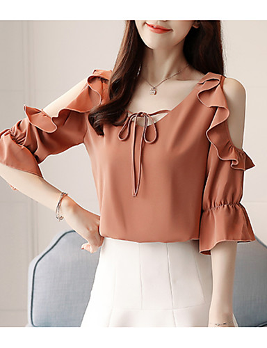 Women's Basic Blouse - Solid Colored Ruffle