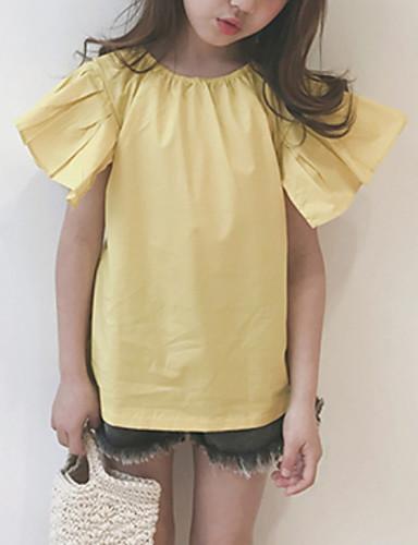 Dzieci Dla dziewczynek Jendolity kolor Krótki rękaw T-shirt