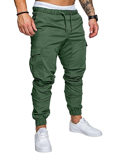 cheap Men's Plus Sizes-Men's Basic Plus Size Sweatpants / Cargo Pants - Solid Colored Navy Blue / Spring / Fall