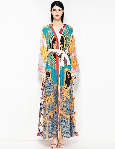 voordelige Maxi-jurken-Dames Feestdagen / Strand Street chic Katoen Ruimvallend Wijd uitlopend Jurk - Bloemen V-hals Maxi