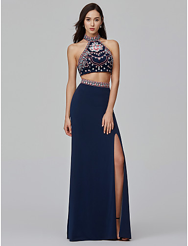 מעטפת \ עמוד / שני חלקים צווארון גבוה עד הריצפה ג'רסי שני חלקים נשף רקודים / ערב רישמי שמלה עם ריקמה / שסע קדמי על ידי TS Couture®
