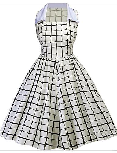 Damskie Vintage Bawełna Linia A Sukienka - Kratka, Nadruk Przed kolano