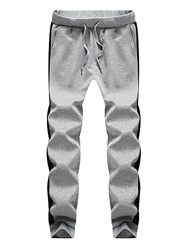 Męskie Podstawowy / Moda miejska Puszysta Bawełna Szczupła Typu Chino / Spodnie dresowe Spodnie Solidne kolory / Kolorowy blok / Sport