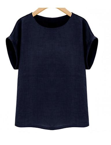 T-shirt Damskie Podstawowy Bawełna Solidne kolory / Lato
