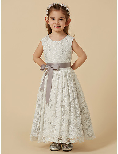 334a1ec1f6d A-Line Tea Length Flower Girl Dress - Lace   Satin Sleeveless Scoop Neck  with Bow(s)   Sash   Ribbon by LAN TING BRIDE®
