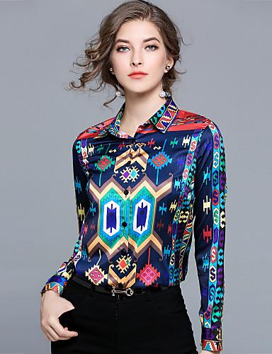 billige Dametopper-Skjortekrage Skjorte Dame - Geometrisk, Trykt mønster Gatemote Ferie / Arbeid