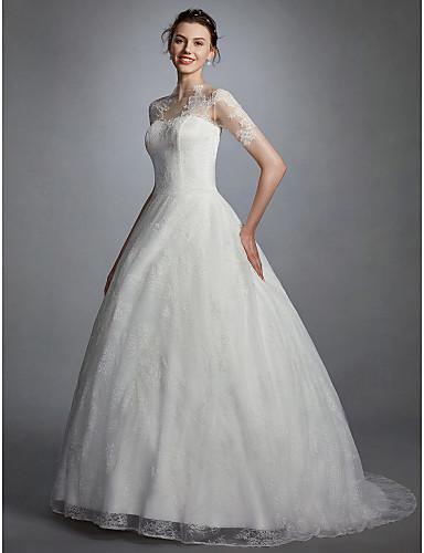 De Baile Ilusão Decote Cauda Escova Renda Vestidos de casamento feitos à medida com Apliques / Pregueado de LAN TING BRIDE® /   Ilusão