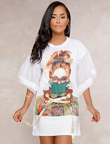 Pentru femei Sleeve Flare Tricou Rochie - Cu Șiret, Bloc Culoare Sub Genunchi