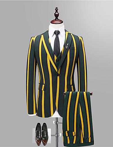 Bărbați Petrecere / Zilnic Primăvara & toamnă Regular Costume, Dungi Rever Clasic Manșon Lung Poliester Maro / Roșu-aprins / Galben XL / XXL / XXXL / Ocazional afaceri / Zvelt