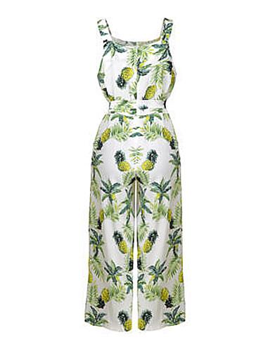 Femme Combinaison Pantalon Lacet Fleur Fruit
