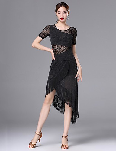 79a449b8186e Latin Dance Dresses Women's Performance Nylon Lace / Tassel / Split Joint  Short Sleeve High Dress