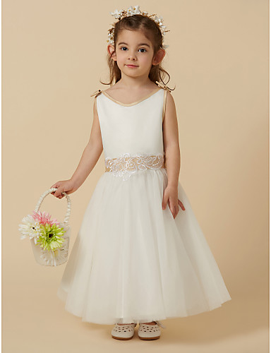 b5a18027f A-Line Ankle Length Flower Girl Dress - Satin / Tulle Sleeveless Scoop Neck  with Bow(s) / Lace by LAN TING BRIDE®