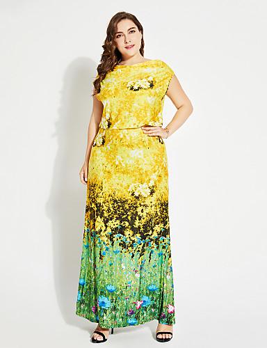 voordelige Maxi-jurken-Dames Feestdagen Street chic T Shirt Jurk - Bloemen Boothals Maxi