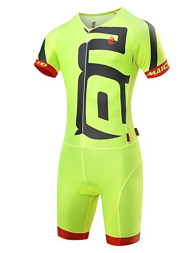 Недорогие Одежда для триатлона-Malciklo Муж. Костюм для триатлона Черный Зеленый  / желтый Белый Сплошной цвет Велоспорт Наборы одежды / Спандекс / Эластичность / Быстровысыхающий / троеборье / Продвинутый уровень