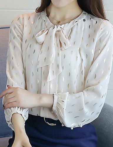 bluzka damska - jednolity kolor / kwiatowy okrągły dekolt