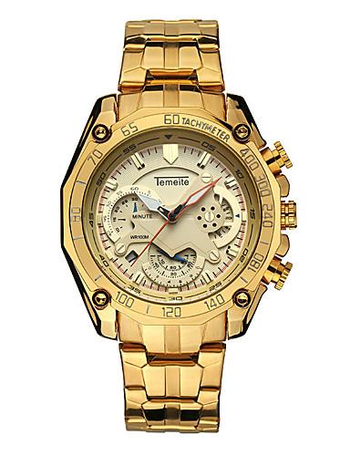 Pánské Sportovní hodinky Hodinky s lebkou Křemenný Nerez Černá / Stříbro / Zlatá Kalendář Stopky Analogové Luxus Cool - Gold / White Černá / Stříbrná Bílá / Stříbrná