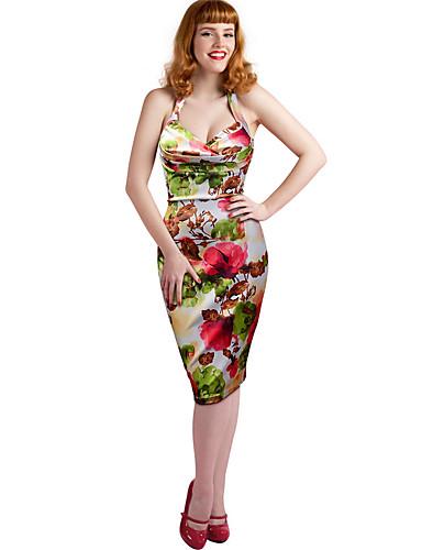 Pentru femei Concediu Bodycon Rochie Floral Cu Bretele Midi / Vară