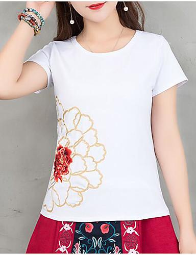 T-shirt Damskie Vintage, Frędzel Bawełna Jendolity kolor Bufka Czarno-biały