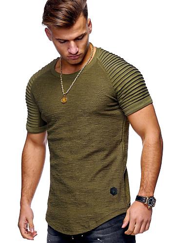 abordables $15-$20-Hombre Básico Algodón Camiseta, Escote Redondo Un Color Negro XL / Manga Corta
