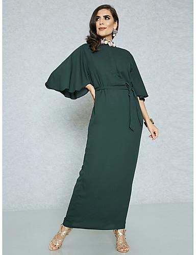 voordelige Maxi-jurken-Dames Grote maten Werk Street chic / Verfijnd Slank Bodycon / Schede Jurk - Effen Maxi Hoge taille / Hoge taille