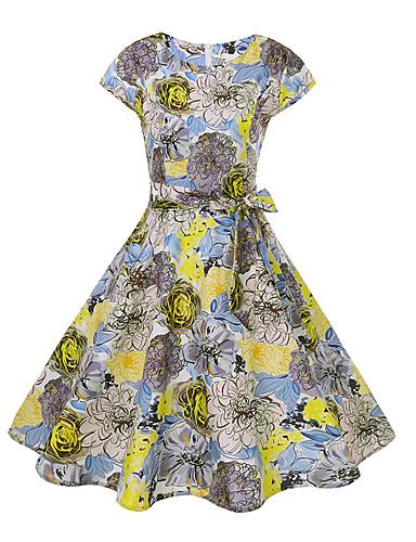 Pentru femei Swing Rochie - Imprimeu, Floral Lungime Genunchi