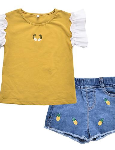 Dzieci Dla dziewczynek Kwiaty / Patchwork Krótki rękaw Komplet odzieży