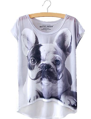 billige Dametopper-Bomull Løstsittende T-skjorte Dame - Dyr, Trykt mønster Ut på byen Grå En Størrelse / Sommer