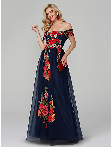 4332157aff99 A-Line Off Shoulder Floor Length Lace Over Tulle Color Block Prom / Formal  Evening Dress with Embroidery by TS Couture® #06523604