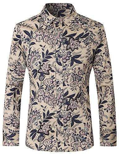 Bărbați Guler Clasic - Mărime Plus Size Cămașă Bumbac De Bază - Floral / Manșon Lung