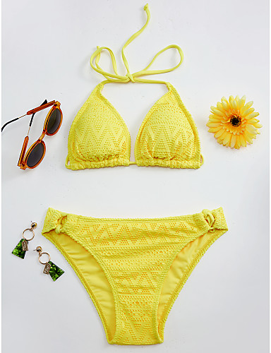 Rojo Triángulo Mujer Amarillo Negro Bikini Tanga Bañadores Halter qUpSMVLzG