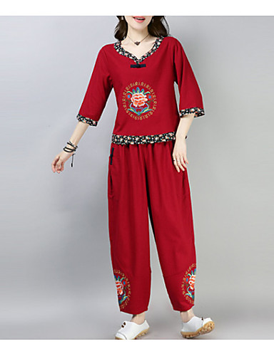 Pentru femei Set - Floral, Pantaloni