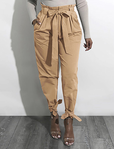 cheap Women's Pants-Women's Street chic Holiday Casual / Daily Cargo Pants - Solid Colored Bow / Ruched Yellow Army Green Khaki L XL XXL