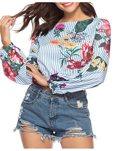 Pentru femei Tricou De Bază - Dungi / Floral Imprimeu