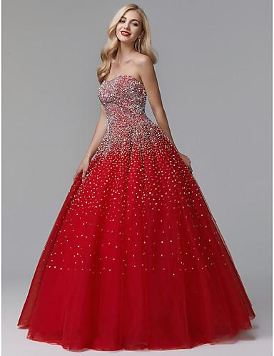 Ball Gown Strapless Floor Length Satin Tulle Sparkle Shine