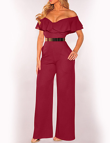 7842744ca3 Women s Off Shoulder Ruffle Club   Birthday Boat Neck Black Wine Army Green  Wide Leg Jumpsuit