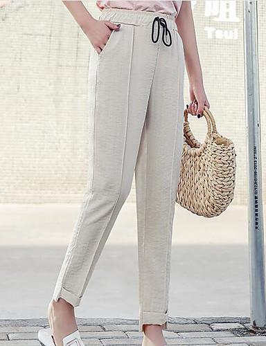 Pentru femei Activ Mărime Plus Size Bumbac Picior Larg Pantaloni - Mată Albastru & Alb, Franjuri Negru M