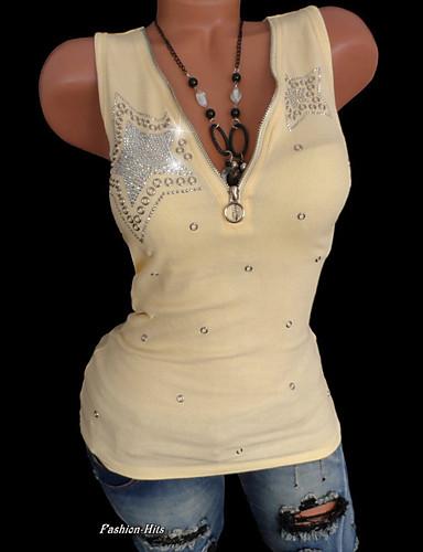 abordables Hauts pour Femmes-Tee-shirt Grandes Tailles Femme, Couleur Pleine Paillettes Punk & Gothique V Profond Mince Noir / Eté